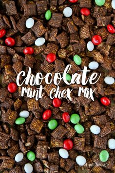 These easy and delicious Chocolate Chex mix is made with only four ingredients and 15 minutes of your time! A great Holiday Chex Mix Recipe! Chex Recipes, Trail Mix Recipes, Snack Mix Recipes, Candy Recipes, Snack Mixes, Yummy Recipes, Christmas Mix, Christmas Snacks, Deserts