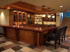 Kitchen Design, Wonderful Bar Ideas For Basement Also Ceramic Floor Also  Wooden Kitchen Island With High Gloss Finish And Black Bar Stool Also  Various Wine ...