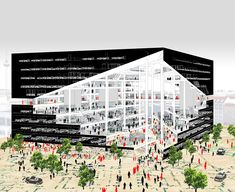 OMA structures axel springer campus around digital valley | axonometric diagram looking inside the building | image courtesy OMA