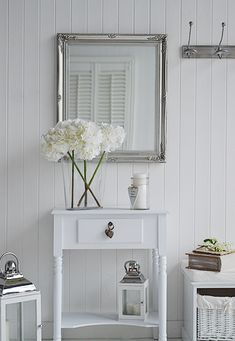 Large decorative silver wall mirror from The White Lighthouse large silver decorative wall mirror. Ideas and designs in furniture and accessories for decorating your white home from The White Lighthouse www. Small Wall Mirrors, Silver Wall Mirror, Home Staging, Grey And White Hallway, Hall Furniture, Retro Furniture, Small Hallway Furniture, Small Hallway Table, Furniture Ideas