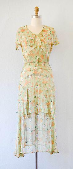 Waltzing in the Green Dress | Vintage 1930s dress | 30s floral dress #1930svintage #30sdress