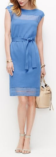 Ann Taylor's Lace Bordered Dress has lacy insets and shows up in a fresh blue for spring. Pair with exotic print sandals and a go-anywhere bucket bag. #springoutfitideas #bluedress #easydresses