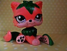 """♡ Littlest Pet Shop Custom Painted """"Kyra"""" The Watermelon Cat With Accessory! ♡"""