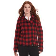 Chaps Plaid Full-Zip Sweater Jacket - Women's Plus Size