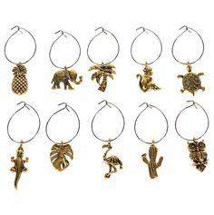 Viinilasikoristeet eläimet 10 kpl - Sisustusliike Cimla Interior Wine Charms, Gull, Paisley, Charmed, Brass, Drop Earrings, Personalized Items, Bracelets, Jewelry