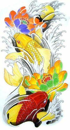 Koy Fish Tattoo, Carp Tattoo, Asian Tattoos, Fish Tattoos, Koi Fish Colors, Koi Tattoo Sleeve, Dragon Fish, Koi Art, Japan Tattoo