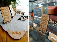 beautiful laser etched and cut point of sale designs