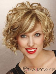 Short Curly Formal Hairstyle - Dark Golden Blonde Hair Color with Light Blonde Highlights Short hair with plenty of curls! If I had short hair, I would definitely do this style. Maybe my Mommy can do it for me with long hair! Powers Duncan or her c Face Shape Hairstyles, Curly Bob Hairstyles, Short Curly Hair, Hairstyles With Bangs, Short Hair Cuts, Cool Hairstyles, Pixie Cuts, Wedding Hairstyles, Thin Hair
