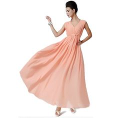 Bohemian Elegant Sexy Pink Deep V Neck Sleeveless Maxi Dresses for Women (L) $44.00