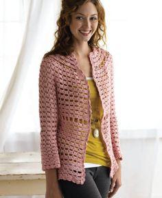 Free Crochet Pattern crochetsofine Pearl's Cardigan : Lion Brand Yarn Company