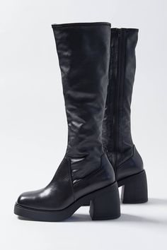 Black Heel Boots, Knee High Boots, Heeled Boots, Sock Shoes, Cute Shoes, Me Too Shoes, Botas Gogo, Botas Grunge, Boots Cowboy