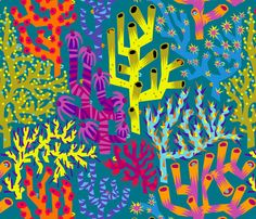 """Hidden Surprises (zoom for details!) fabric by sammyk on Spoonflower - custom fabric. The wild colors are perfect for the """"Great Barrier Reef"""" theme!"""
