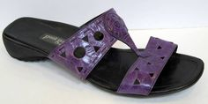 Paul Green Munchen Purple Patent Leather T-Strap Slide Sandal Size 8/US 10.5 #PaulGreen #Slides