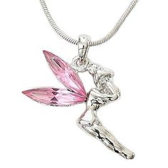 Amazon.com: Designer Inspired Tinkerbell Charm Pendant with Pink Gemstone Wings.: Jewelry