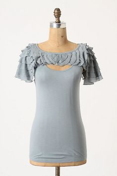 Anthropologie - Ruffled Cape Tank, Sky