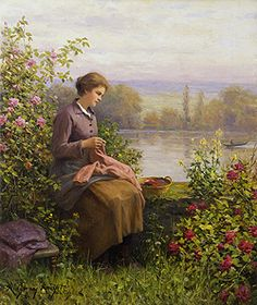 The Village Seamstress by Daniel Ridgway Knight - 22 x 18 inches Signed, Inscribed Paris and dated 1916 paris salon french academic genre rolleboise women in gardens figures figurative flowers