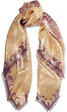 Missoni - Printed Silk-blend Scarf - Gold
