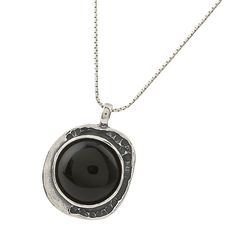 Sterling Silver Handcrafted Frame Pendant Onyx 18mm Round Cabs Necklace