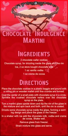 Chocolate Indulgence Martini love recipes valentines day desserts valentines ingredients instructions alcohol recipes