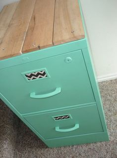 Refurbished file cabinet - lovely mint green color and reclaimed timber cladding on top