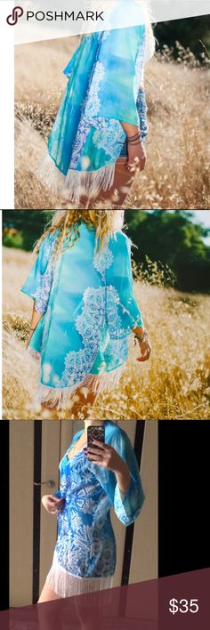 """Blue Floral Print Chiffon Kimono Coverup - XS-S Blue & white print chiffon kimono coverup; 3/4 sleeves. Approx. 35"""" long from center back to end of fringes. Circumference approx. 37"""".  Fits XS-S; NWOT, unbranded. Colors may appear darker because of lighting. Swim Coverups"""