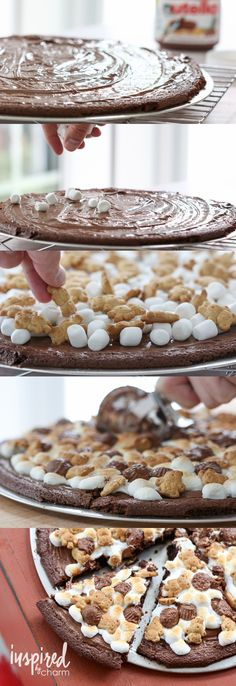 Tired of the same ol' dessert recipe? Try this Nutella S'more Brownie Pizza!