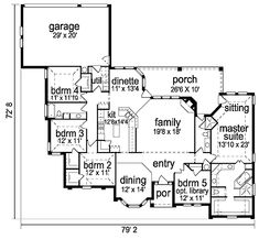 **12-27-17** European Style House Plan - 5 Beds 3.00 Baths 2721 Sq/Ft Plan #84-255 Floor Plan - Main Floor Plan - Houseplans.com Texas House Plans, Cottage House Plans, Best House Plans, Dream House Plans, House Floor Plans, House Layout Plans, House Layouts, Duplex Plans, French Country House Plans