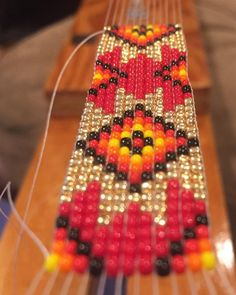 Another #custom #beaded #hatband is headed to the #cowboys tent for #calgarystampede I love when a person picks their own colours and it…