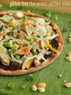 Gluten-Free Thai Peanut Chicken Pizza - A quick and easy dinner idea!