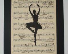 Ballet Dancer Silhouette vintage sheet music print music book art