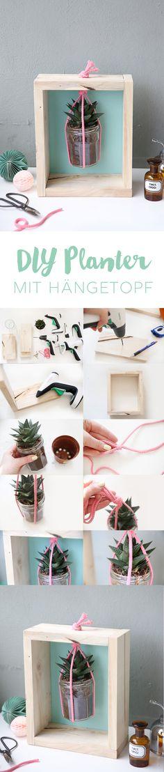 Kreative DIY Idee: Hänge Makramee Planter selbermachen mit Box aus Brettern