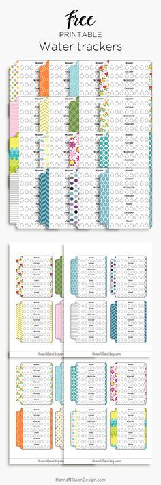 Free Printable Water Trackers from Hanna Nilsson Design {newsletter subscription required}