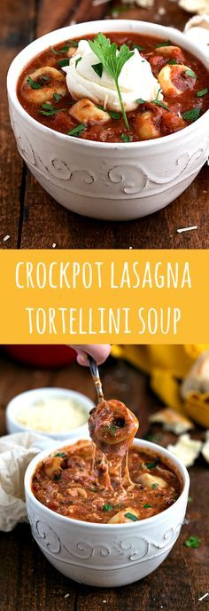 Delicious and simple CROCKPOT tortellini lasagna soup