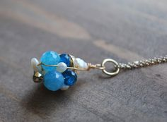 Blue necklace with clusters of freshwater pearls aqua