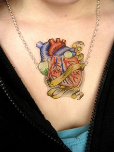 faux tattoo anatomical heart necklace made with Shrinky Dinks (tutorial included)