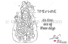 """This fabulous girl was created by Tracey Malnofski. Kit contains 3 stamps.  Bubbles measures approximately 2.25″ x 3.75″.  """"it's been on of those days"""" sentiment measure approximately 1"""" x 1.25"""".  """"TIME for WINE"""" sentiment measures approximately .25"""" x 1.75"""".  All Unity Stamps are pre-cut, mounted on cling foam and ready to use right out of the package – you can mount our stamps on any acrylic block.  Unity is known for its HIGH QUALITY red rubber stamp – to be used for years to come."""