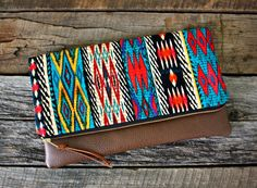 Ethnic Tribal Bohemian Foldover Clutch / Aztec by SweetPeaTotes