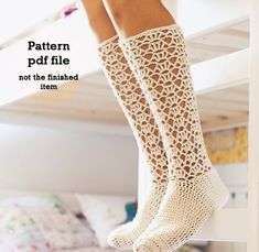 Crochet PATTERN for socks (pdf file) - Ladies Lace Socks from monpetitviolon on Etsy. Saved to My Closet. Mode Crochet, Crochet Diy, Crochet Boots, Crochet Slippers, Crochet Clothes, Crochet Style, Crochet Stitch, Crochet Granny, Knitting Patterns