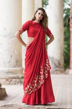 Red Drape Crop Top With Red Skirt Latest Kurti Design LATEST KURTI DESIGN | IN.PINTEREST.COM FASHION EDUCRATSWEB