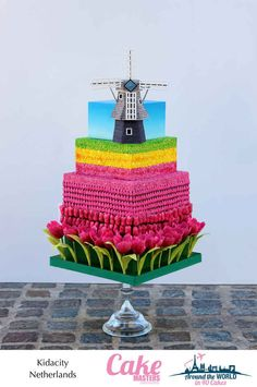 Tulip and windmill Netherlands-themed cake