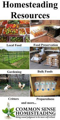 GUIDE: Homesteading Resources - Real food, food preservation, gardening, local food, natural health, homestead animals, homemaking, survivalism, preparedness.