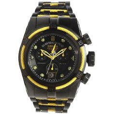 Invicta 14423 Men's Yellow Cable Wire Bezel Black Dial Bracelet Chrono Watch