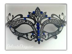 BlackBlue Trustful Tiara Masquerade Mask  by DelicateDisguise, $25.99