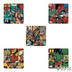 The Earth's mightiest heroes are featured in these action-packed Marvel stickers. Join Spider-Man, Captain America, Iron Man, The Hulk . Superhero Party Supplies, Superhero Birthday Party, 13th Birthday, Birthday Ideas, Party Gift Bags, Kid Party Favors, Comic Party, Super Hero Costumes, Oriental Trading