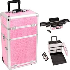 Pink Crocodile Textured Printing Professional Rolling Cosmetic Makeup Case