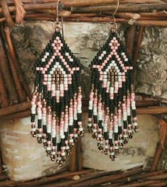 Linda's Crafty Inspirations: Native American Fringe Earrings #47 - Pink & Black