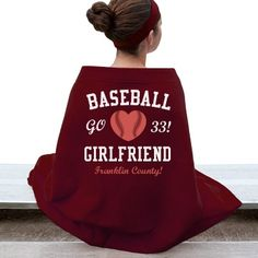 Baseball Girlfriend  Gildan Dryblend Stadium Blanket #baseball #customblanket