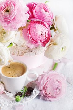 Coffee & fresh flowers.~ I love a fresh flower arrangement on the table.  Flowers brightens any home, and smell good too.~ Miss Millionairess