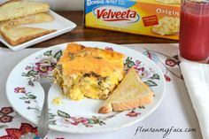 Velveeta Breakfast Casserole  ~  This makes a 9 x 13 but think you could do this in half.