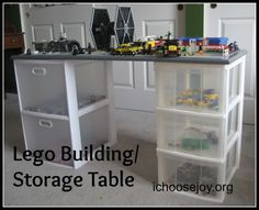 DIY Lego Building and Storage Table. How we built a Lego table for our boys, with drawers and a top for building the Legos. Lego Table With Storage, Lego Storage, Kids Storage, Storage Hacks, Built In Storage, Storage Organization, Kitchen Storage, Storage Solutions, Storage Ideas